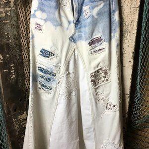 OOAK Denim Maxi Skirt Distressed Bleached Coolest